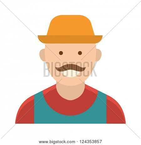 Funny farmer with mustache character in straw hat farming food person vector.