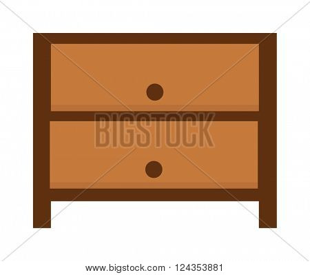 Nightstand bedside table household furniture and interior design bedroom flat vector.