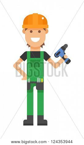 Repair serviceman with tool screwdriver maintenance repair cartoon character vector.