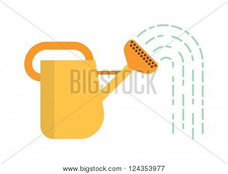 Watering can with water summer garden tool equipment metal irrigation flat vector illustration.