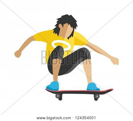 Skateboarder jump doing trick in skate park extreme sport fun urban character flat vector.