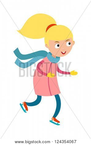 Pretty cheerful little girl thermal suits skating outdoors in blue scarf and mittens cartoon character vector.