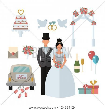 Wedding symbols bride bridegroom married couple, marriage car fat vector illustration.
