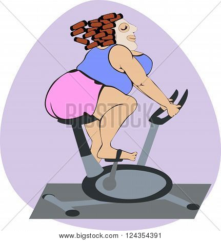 The fat girl in cosmetic mask and hair rollers engaged with the smile on the bike. All objects are grouped. Vector.