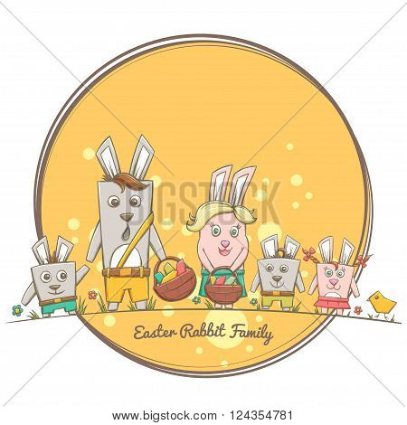 Family Easter rabbits, father, mother, son and two honey dochka.Na flower meadow and chick. In the hands of a basket with Easter eggs. In the background, a round substrate.