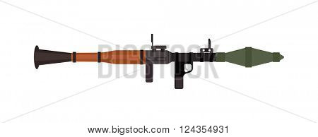 Military rifle army anti-tank rocket grenade gun and weapon vector illustration.