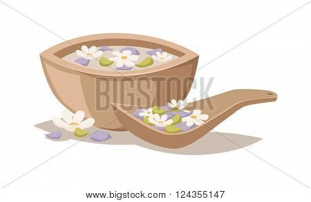 Lavender salt in bowl bath beauty treatment spa and wellness organic therapy vector.
