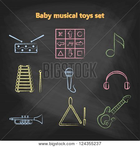 Set of vector chalk icons of musical instrumen. Vector illustration in a chalk line style. Collection vector elements for web design, mobile applications, design flyers, discounts and advertising