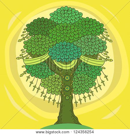 Amazing Color Tree Of Life In The Indian Style With Leaves. Cartoon Vector Illustrations. Indian Tree Of Life. Indian Decor. India Summer. Indian Forest. Hand Drawing Tree.