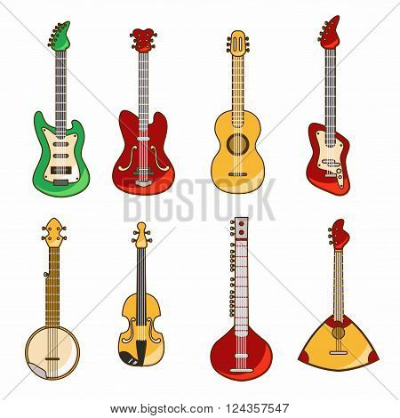 Vector icons with acoustic and electric guitar
