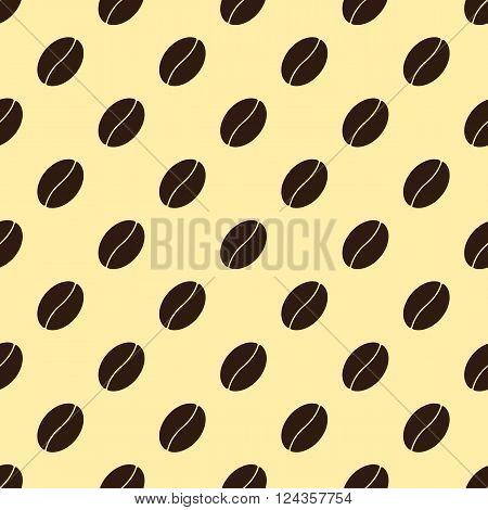 Seamless pattern with repeating brown colored coffee bean isolated on creamy background