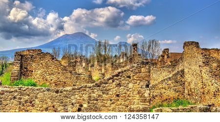 Ruins of Pompeii with Mount Vesuvius in the background - Italy