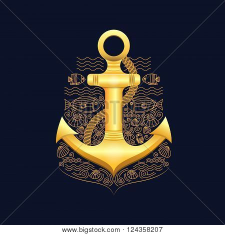Vector illustration of golden sea anchor on a dark background. Anchor with rope, fish, shells. Illustration in a nautical style. Vector background for cards, invitations, banners, web-sites.