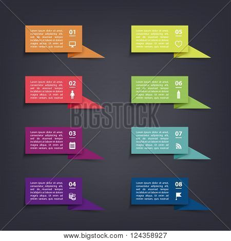 Vector paper flag stickers and labels with realistic shadows for infographic set. Template for diagram, graph, presentation and chart.