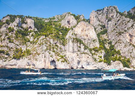 Coastal Rocks Of Capri Island, Italy