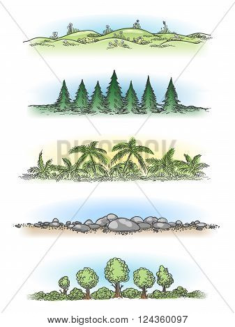 Colorful hand drawn landscapes with trees, hills and rocks. Vector doodle landscapes