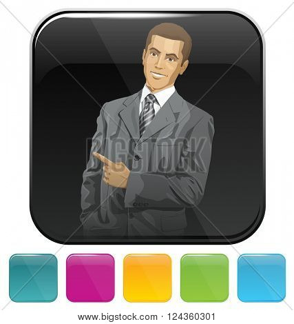 Vector button icon with business man