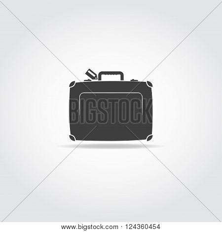 Black icon. Travel case with handle and locks.