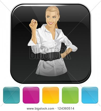 Vector button icon with business woman