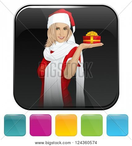 Vector button icon with Woman waiting for Christmas