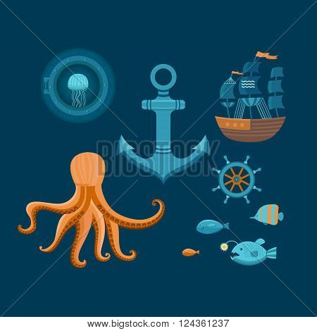 Vector set of marine objects with octopus, ship, fish and helm. Nautical icons. The design elements in marine style. Vector flat illustration.