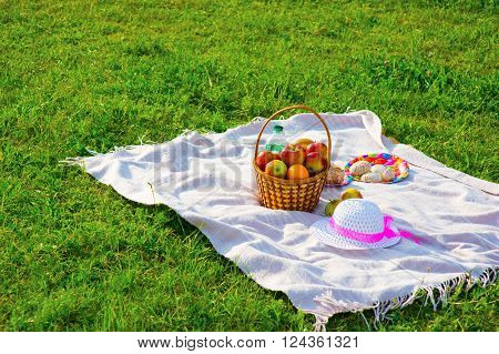 Picnic on the lawn. Objects for picnic  on a coverlet. Weekend.