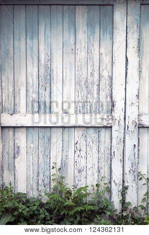 Close up of old sliding barn door