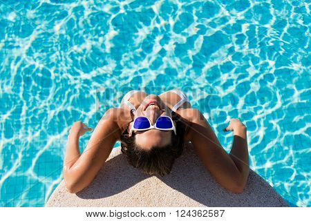 Funny Joyful Woman On Summer Vacation In Swimming Pool