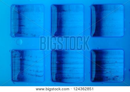 Ice cube tray with ice top view