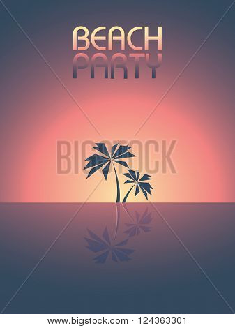 Beach party template background for promotional posters and flyers. Retro 80s style leaflet with palm trees in sunset. Eps10 vector illustration