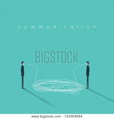 Business communication concept illustration with tangled lines. Businessmen having conversation symbol. Sign of misunderstanding or communicating breakdown. Eps10 vector illustration.