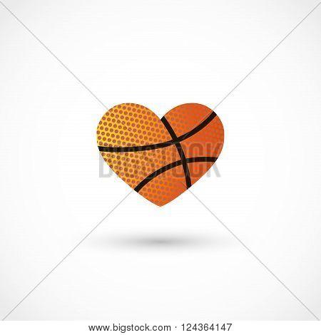 Vector illustration of basketball heart on white bg