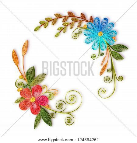 Vector color flower branch in quilling technique .