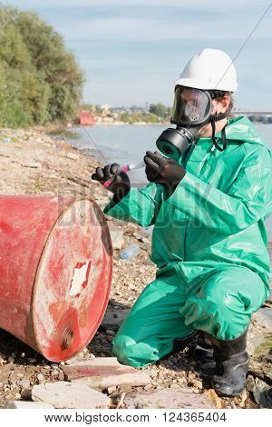 Environmentalist working on a chemical pollution site