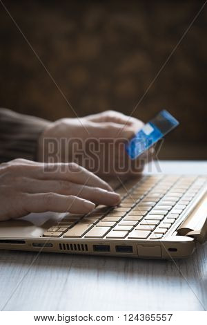 Hands with credit card and notebook vertical