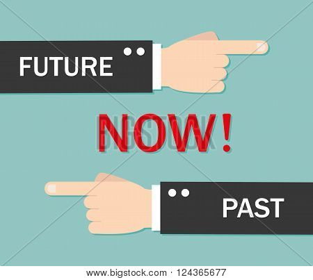 Now past and future - vector illustration isolated
