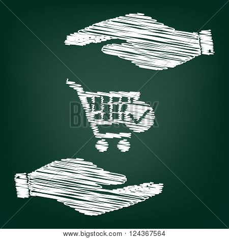 Shopping Cart and Check Mark Icon. Flat style icon with scribble effect