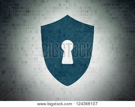 Security concept: Shield With Keyhole on Digital Paper background
