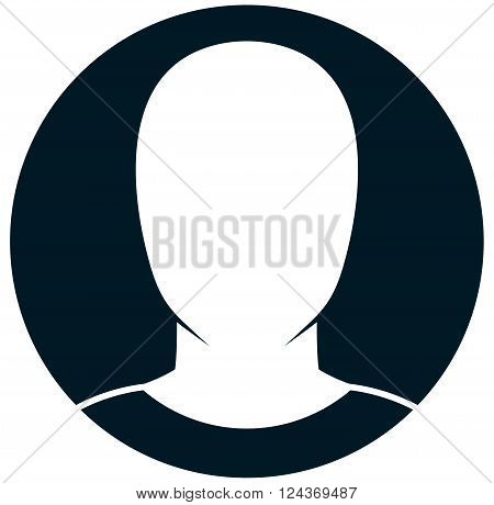 Vector human head silhouette icon isolated on white
