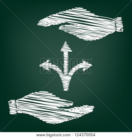 Three-way direction arrow sign. Flat style icon with scribble effect