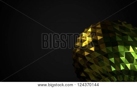 Dark background with abstract glossy shape as low poly ball. 3D render image as design elements.