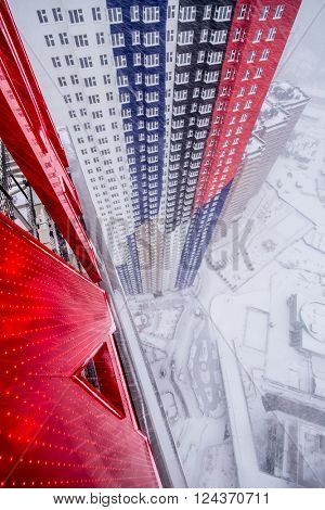 MOSCOW, RUSSIA - FEB 3, 2014: (top view) Modern residential complex Art during snowfall