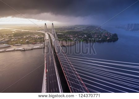 ST. PETERSBURG, RUSSIA - JUL 23, 2014: View from pylon of Big Obukhov Bridge. Total bridge length is 2884 meters