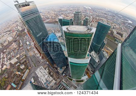 MOSCOW, RUSSIA - OCT 31, 2015: Skyscrapers of Moscow City business complex. Moscow International Business Center Moscow City includes 20 futuristic buildings