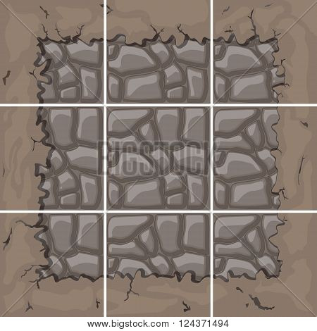 seamless stone tiles construction kit with ground border connection