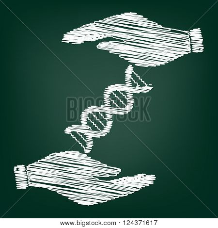 The dna sign. Flat style icon with scribble effect