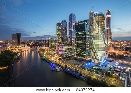 MOSCOW, RUSSIA - JUN 11, 2014: Moscow International Business Center and river. Investments in Moscow International Business Center was approximately 12 billion dollars