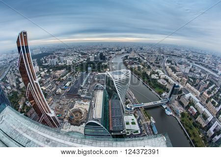 MOSCOW, RUSSIA - SEP 3, 2014: Futuristic Moscow International Business Center and Bagration bridge. Years of construction of complex - 1995-2018