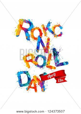 ROCK-N-ROLL day. April 13. Vector colorful sign