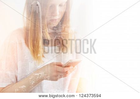 Closeup Photo Of Stylish Teenager Girl Wearing Blank T-shirt And Looking Cell Phone. Double Exposure